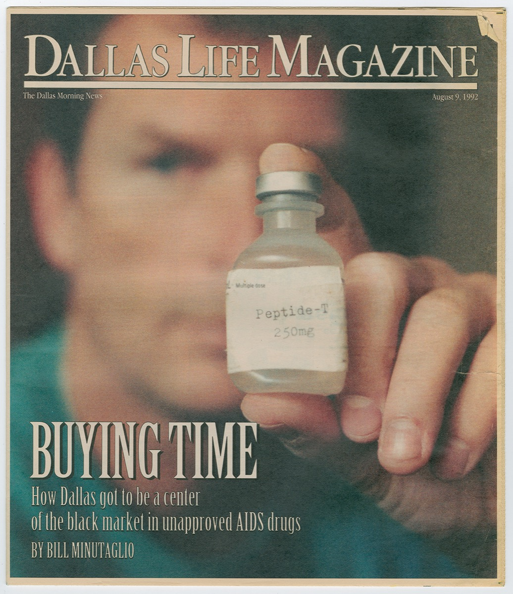 A magazine cover with a picture of a man in a blue shirt, holding a small viall in front of him labeled Peptide. The top of it is titled Dallas Life Magazine. The bottom says Buying Time.
