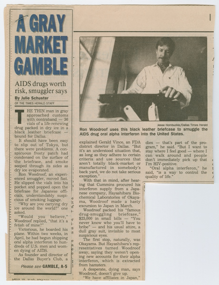 A newspaper that says A Gray Market Gamble in the top left corner in blue letters. The right is a picture of a man in a white coat. The bottom is three columns of text, but part of it is torn off.