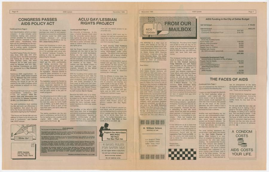 A newspaper, the page on the left is title Congress Passes AIDS Policy ACT and ACLU Gay/Lesbian Rights Project, followed by four columns of text. The page on the right is titled From Our Mailbox, right next to it a budget. Under it are four columns of text.