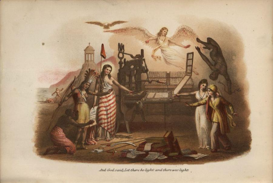 An illustration of two men in native garments, a woman in a red and white striped shirt next to them. On the right side are two women, one in yellow. At the top is a female angel with her wings spread out and wearing white.