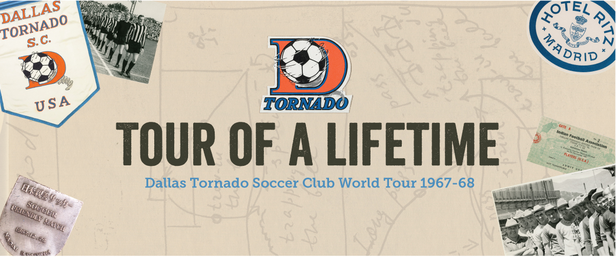 A banner with the exhibit title in the middle. An orange letter D is above it, with a soccer ball in the middle of it. The top left corner has a Dallas Tornado banner on it, and is covering a small photo of people lined up in soccer uniform. The bottom right corner is a photo of people close together.