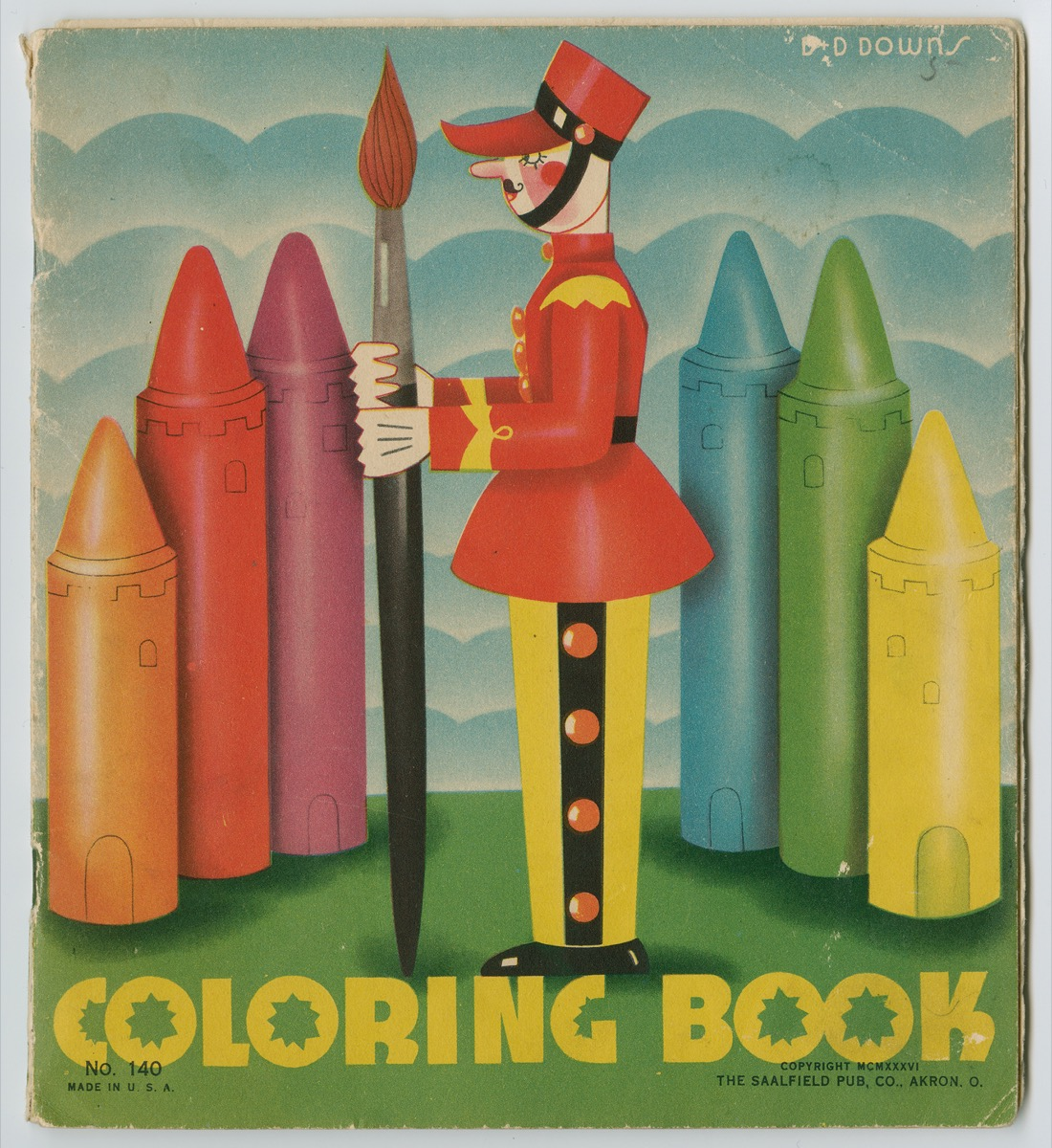 Cover of a coloring book with a toy soldier wearing a red coat and  yellow pants, holding a paintbrush as tall as he is, with two sets of three different colored crayons behind him to either side, and the crayons have lines on them that make them look like castle buildings.