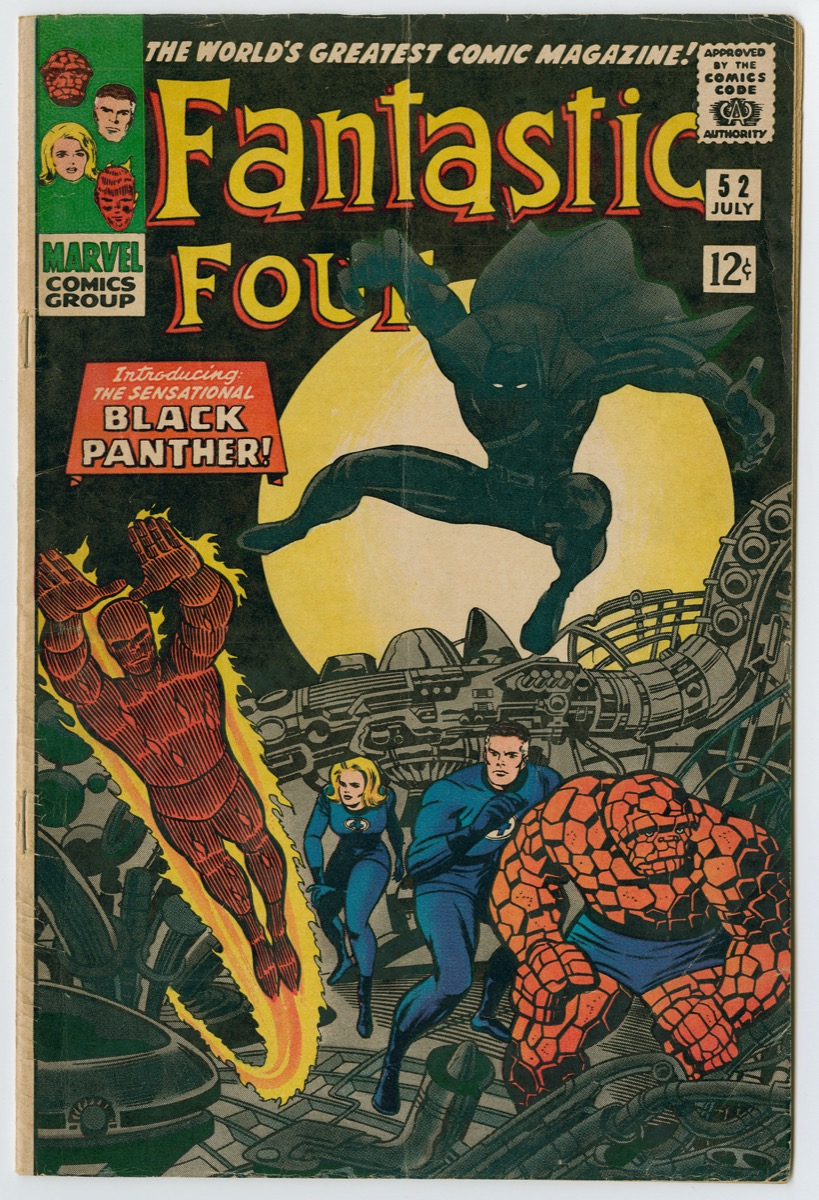 Cover of the Fantastic Four comic book with title at the top of page, a shadowy Black Panther jumping into the air in a crouched position, and the Fantastic Four heroes below on a grey platform with lots of pipes and grates.
