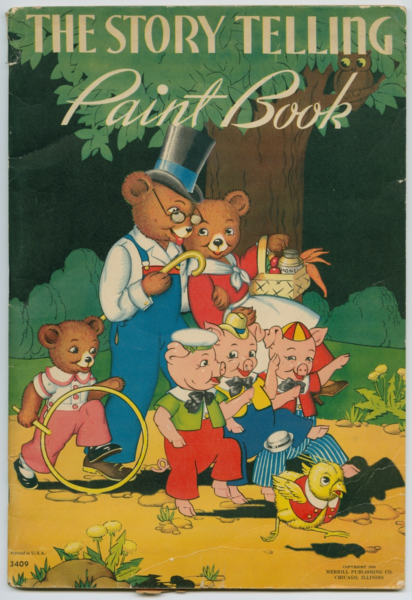 Cover of a paint book with the three little bears family, the three little pigs, and a chick all wearing brightly colored clothing, walking through a forest.