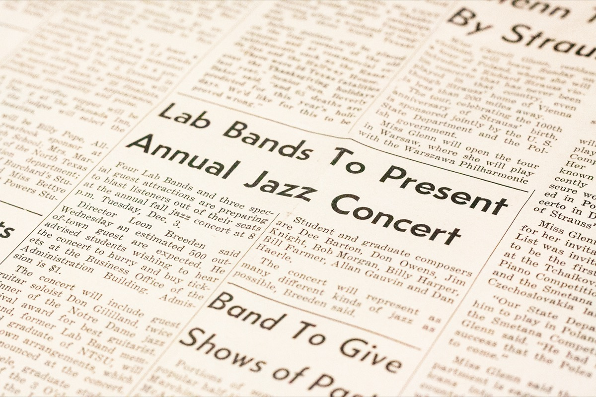 Closeup of a newspaper page, showing a news story titled Lab Bands To Present Annual Jazz Concert.