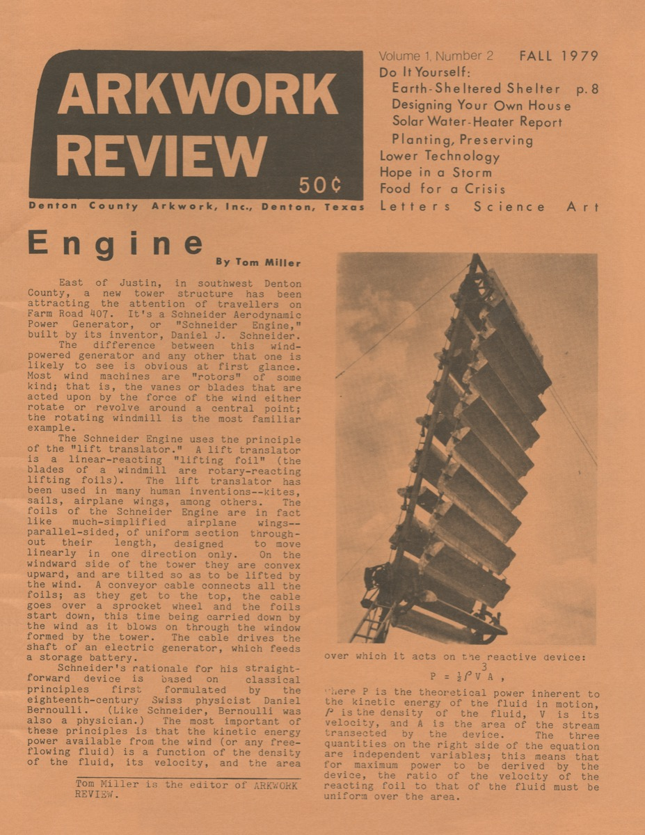 An orange newspaper page. The words Artwork Review are on the top left corner in a black block. Under it, the text is titled Engine. The right of the page contains a picture of part of a tower.