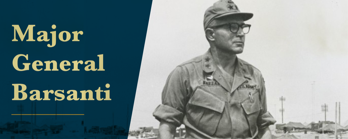 The banner is a black and white photograph of Barsanti, a young man in his army uniform with black glasses, some of the buildings can be seen in the background. On the left side over the photo is a blue background with the words