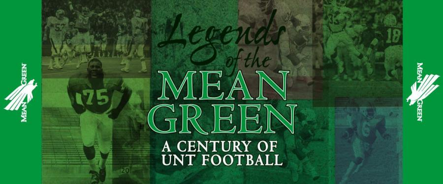 Green background with photographs of a football game faded into the background. The exhibit title is in big letters in the middle of the banner.
