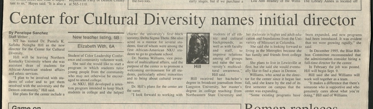 News article with the title in boold at the top, followed by six columns of text. In the middle of the article is a phot of an African American woman.