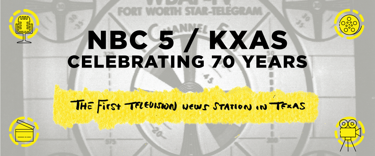 Grey rectangle with a film reel graphic seen in the background. In big, black letters is the exhibit title, NBC 5/KXAS Celebrating 70 Years, at the bottom part of the middle of the page are the words First Television in a yellow rectangle. In each corner of the banner, different media graphics are seen with yellow circles behind each.