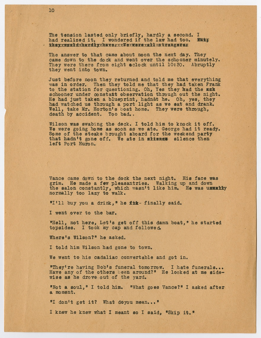 A page filled with black typewritten text. The top left corner has the number 10 on it. All of the text is small in size.