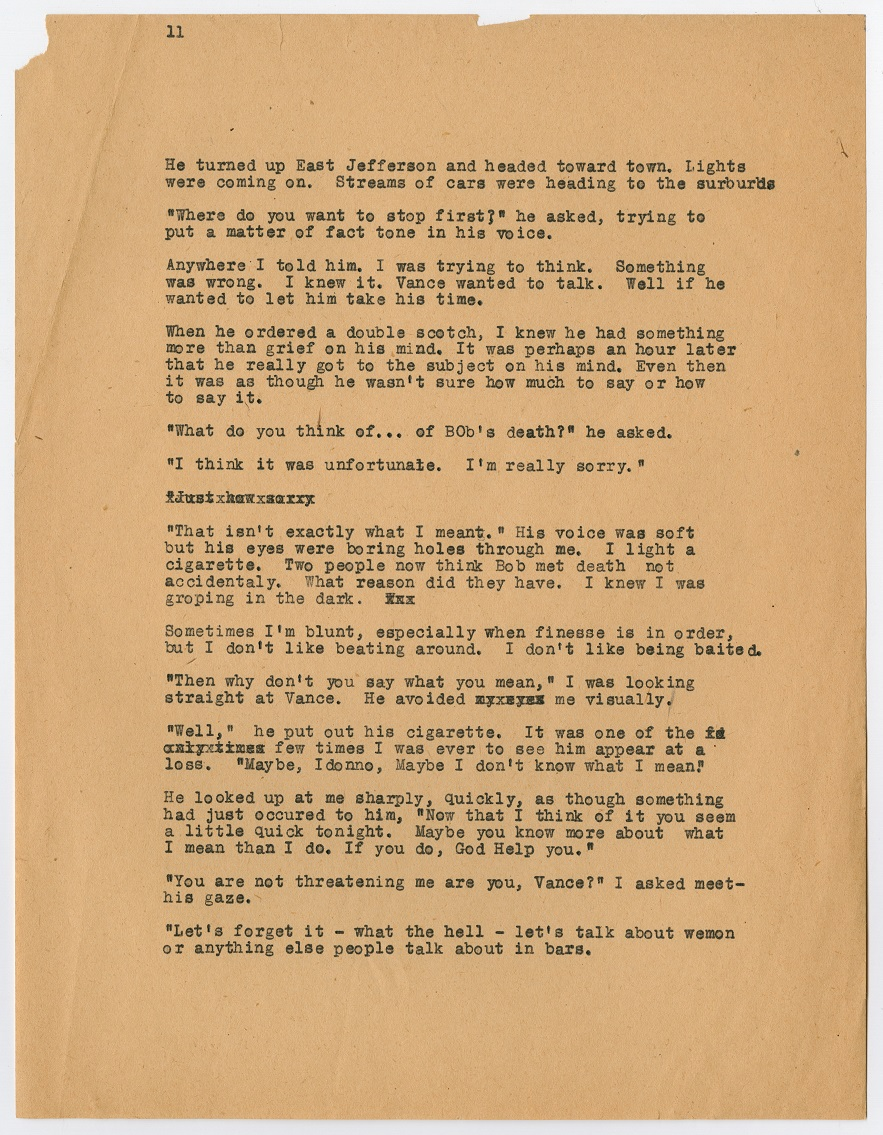A page filled with black typewritten text. The top left corner has the number 11 on it. All of the text is small in size.