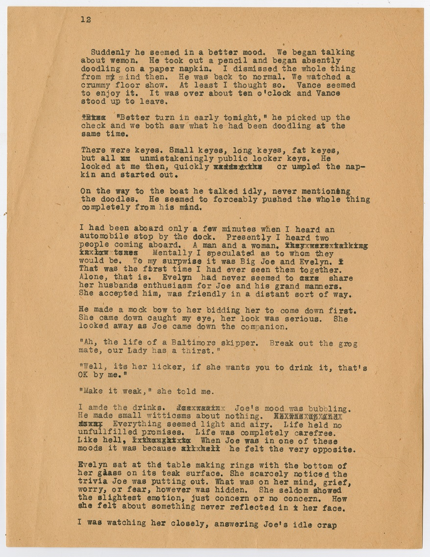 A page filled with black typewritten text. The top left corner has the number 12 on it. All of the text is small in size.