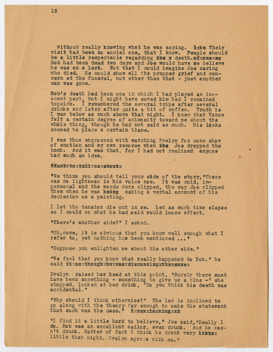 A page filled with black typewritten text. The top left corner has the number 13 on it. All of the text is small in size.