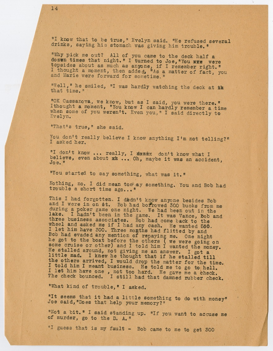A page filled with black typewritten text. The top left corner has the number 14 on it. All of the text is small in size.
