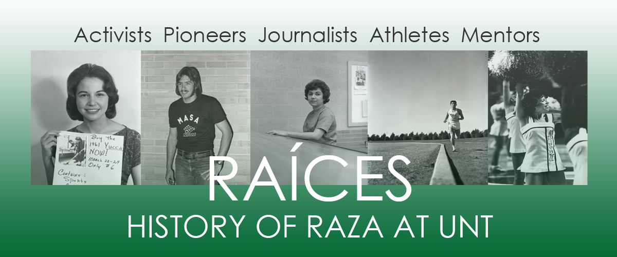 Green banner with 5 different black and white pictures over it of Hispanic men and women. The exhibit title is over it in big white letters. The top of the banner says Activists Pioneers Journalists Athletes Mentors. This is at the top in black letters.