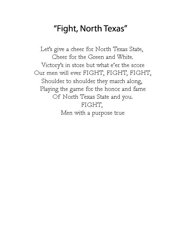 A blank page with black text near the top. It is titled Fight North Texas, the song underneath it.
