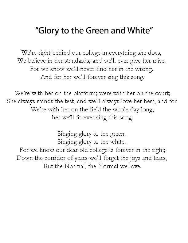 Blank page with black text. It is titled Glory to the Green and White, the song underneath it.