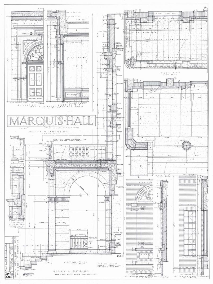A page showing the architecture design of the interior of a building. The left side of the page says Marquis Hall.