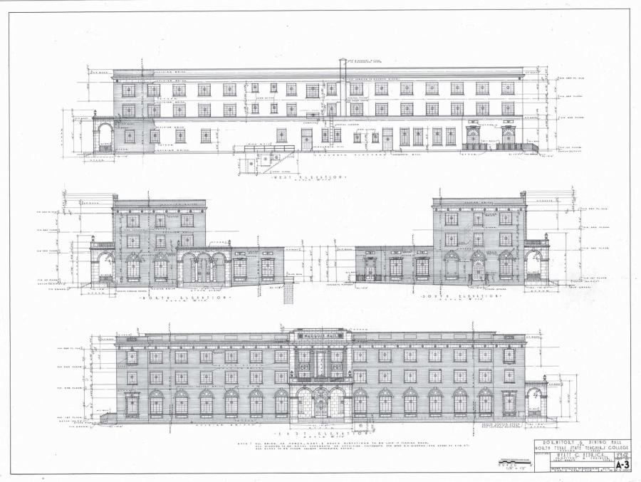 White page showing an architectural design of the exterior of a long building.