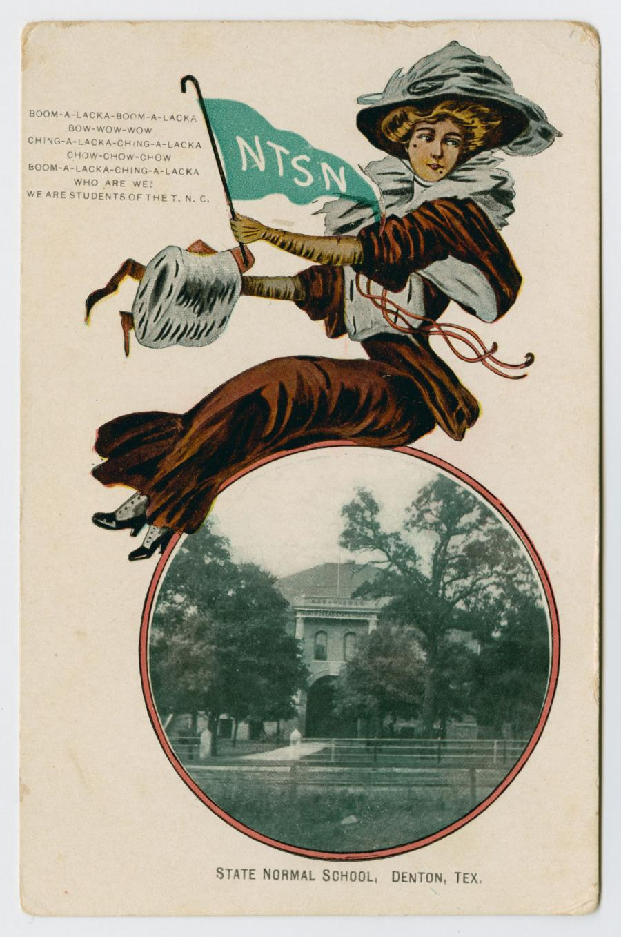 A card with a photo of a building behind some trees in a circle at the bottom. Sitting on the circle is an illustration of a woman wearing a hat. The woman holds a green flag with the letters NTSN on it.