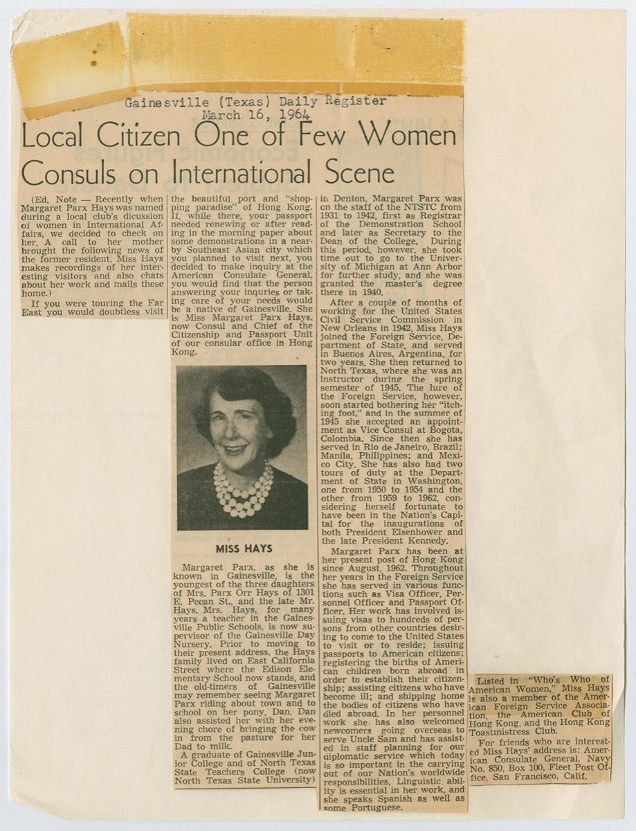 Newspaper clipping, titled Local Citizen One of Few Women at the top,  followed by three columns of text. The middle column has a picture of  a woman. The bottom of the left column, and the top of the right column  are cut off.