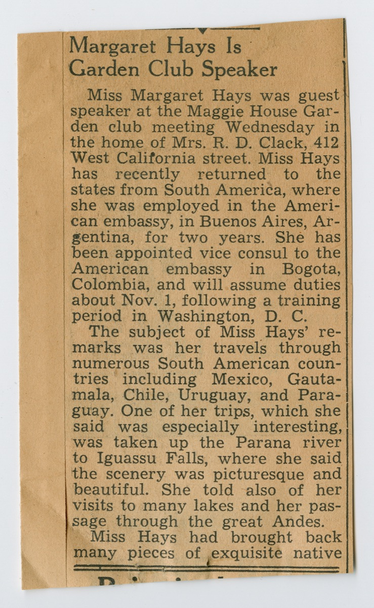 A newspaper clipping title Margaret Hays is Garden Club Speaker in bold letters, under it are two paragraphs of text.
