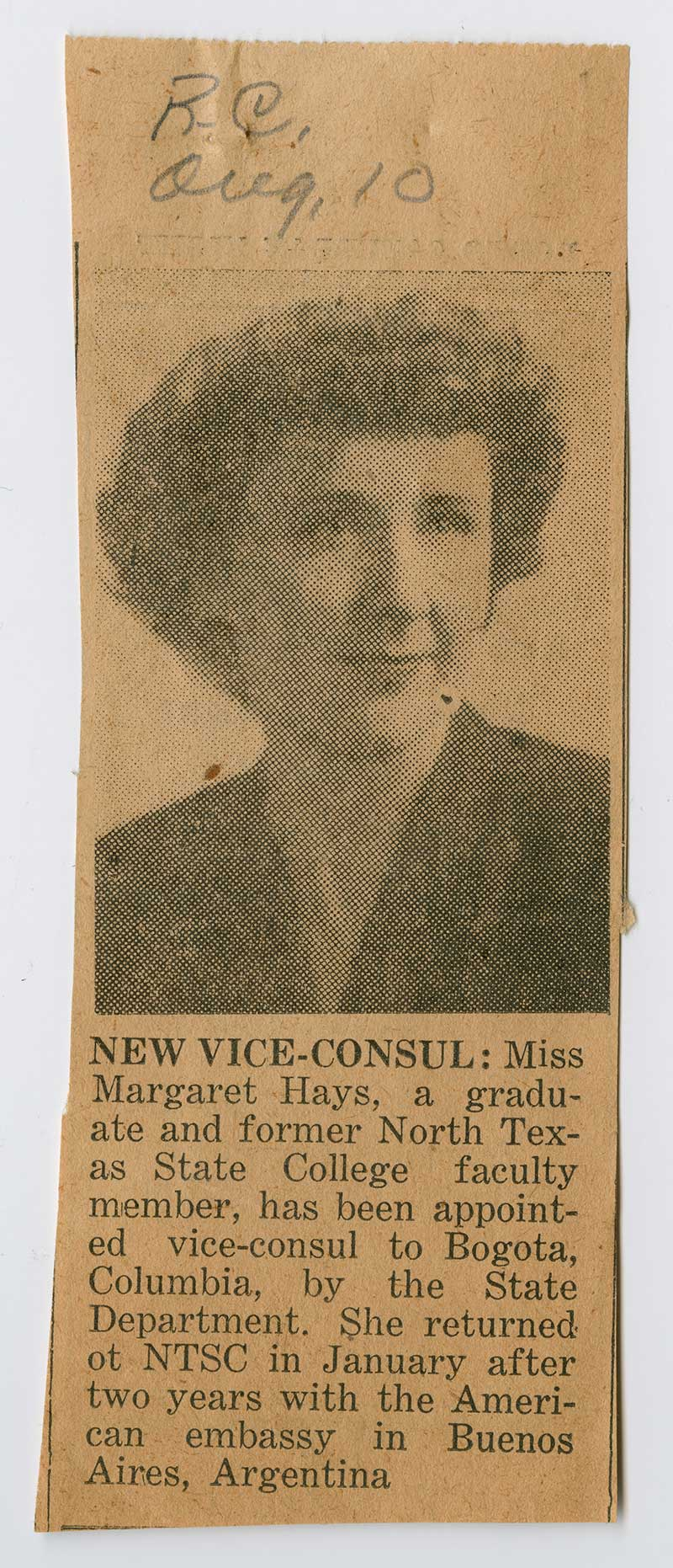 A slip cut out of a newspaper, the top of it a picture of a woman with short hair, under it text describing Margaret Hays.