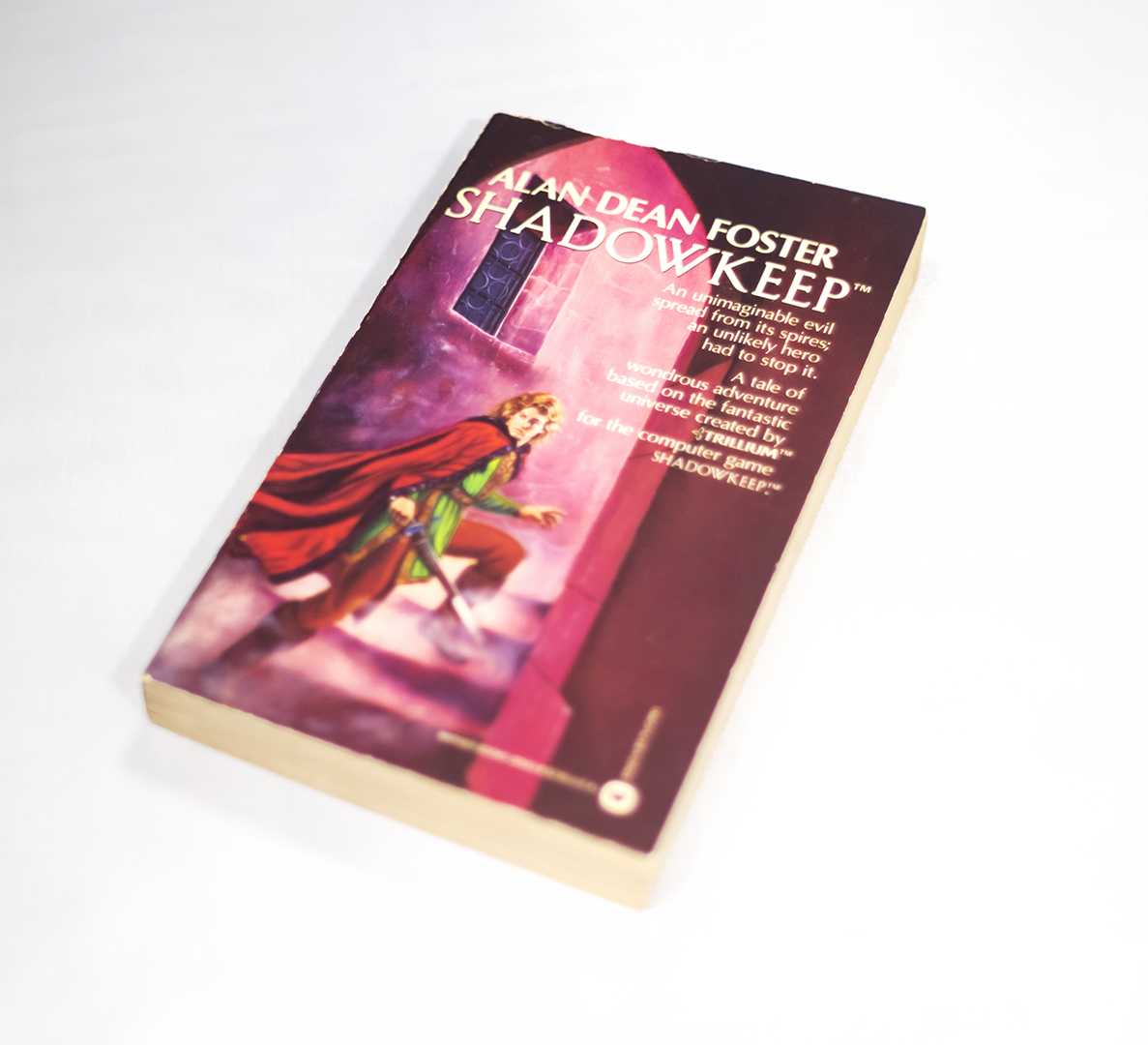 Photograph of a book cover with the title at the top in white letters. An illustration in color, a man with blonde hair in a red cape, green blouse and brown pants is climbing up the stairs, a sword in his hand.