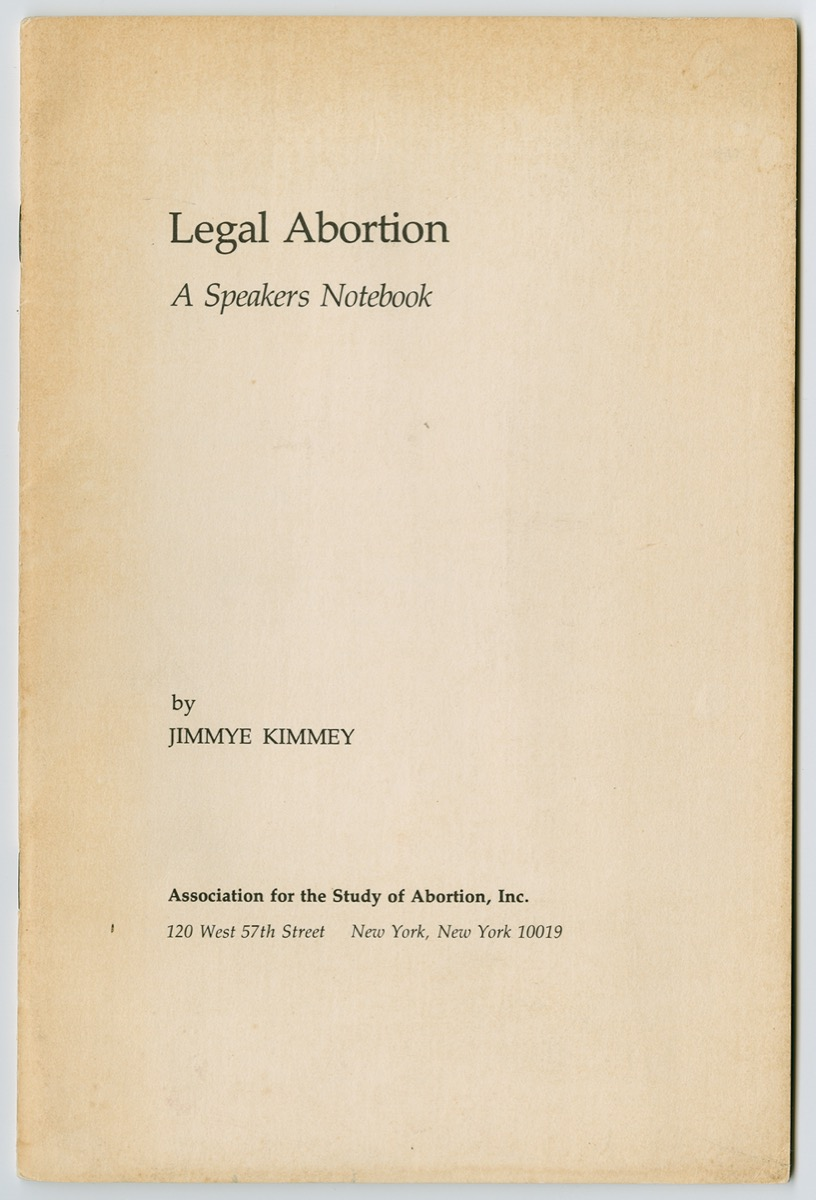 Manila book cover, the title Legal Abortion on the top left, the author's name near the bottom and under it the address in small letters.